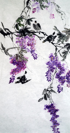 Wisteria Lane Chinese ink painting