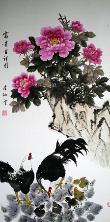 Cock with peony traditional Chinese painting Редакционное