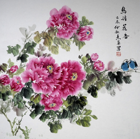 Birds and flowers traditional Chinese painting