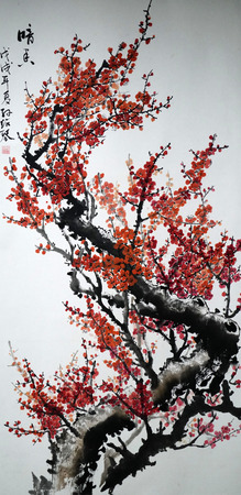 Red plum traditional Chinese painting