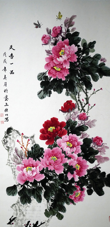 Peony traditional Chinese painting Redactioneel