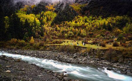 autumn xinduqiao mountain village scenery