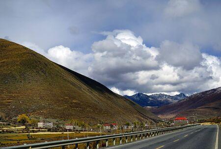 autumn xinduqiao mountain village with Sichuan-Tibet highway Line