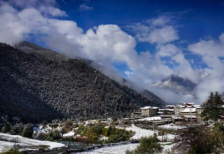 Tibetan village snow scene