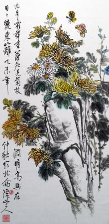 chrysanthemum traditional chinese painting