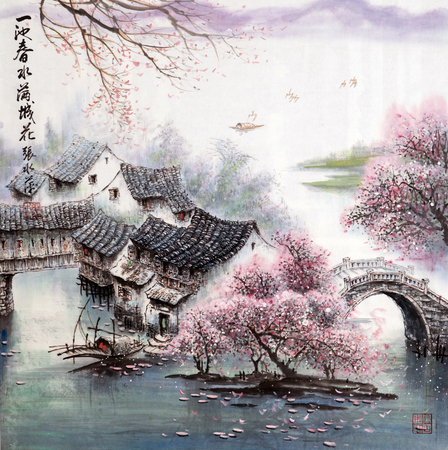 Water spring traditional chinese painting Redactioneel