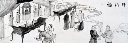 traditional Chinese painting of Yuyuan Village