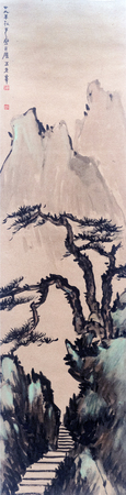 Traditional Chinese painting of landscape painting 에디토리얼