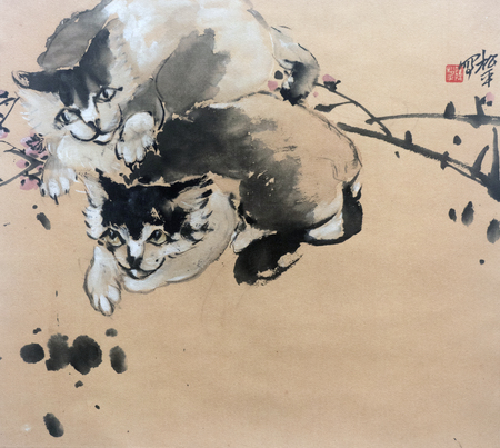 Traditional Chinese painting of cat 에디토리얼