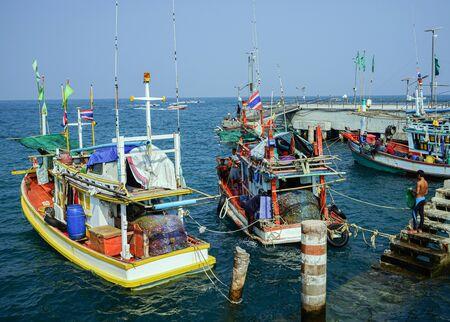 Golden sand island fishing boat