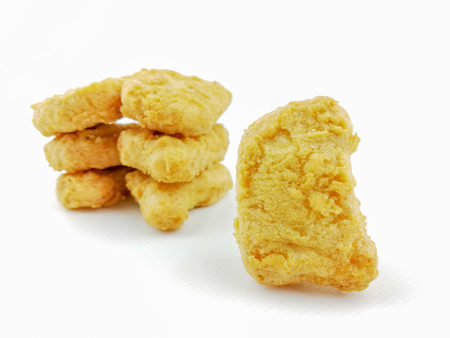 chicken nuggets on a white background Stock Photo