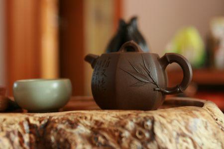 tea set: tea set on table Stock Photo