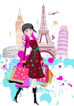 Fashion Cartoon Girl travels the world Stock Photo - 15303924