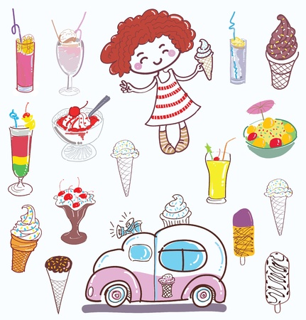 vendors: ice cream and girl Illustration