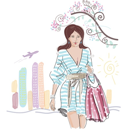 Fashion girl with bag on a street-cafe background