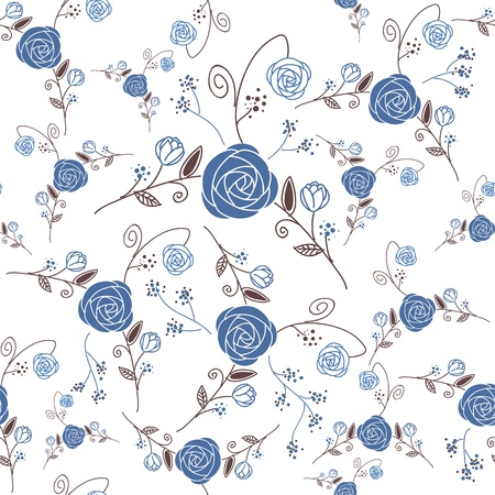 modern garden: Gorgeous seamless floral background Illustration