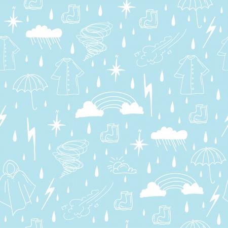 rainy season elements seamless pattern Illustration