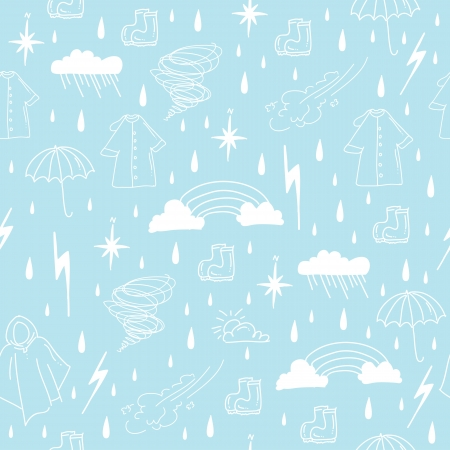 rain cartoon: rainy season elements seamless pattern Illustration