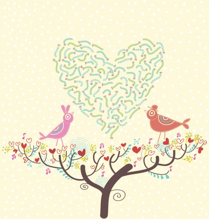 romantic spring card birds on a branch Illustration