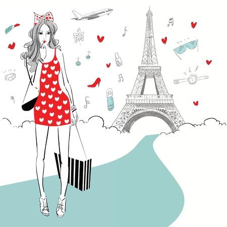 shoptalk: beautiful women Shopping in Paris Illustration