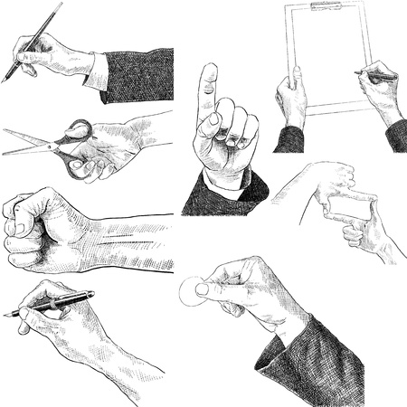 sketch set man hands