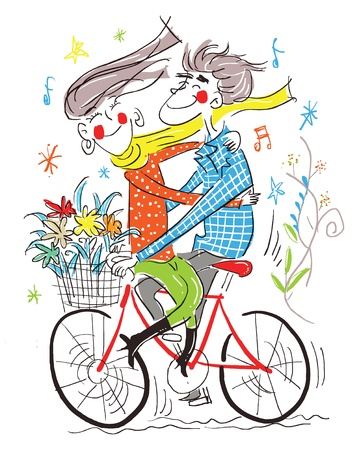 The boy and gile on the bicycle