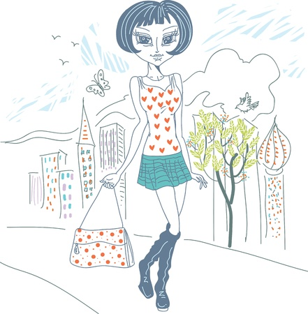 Beautiful girl shopping home Stock Vector - 16418606