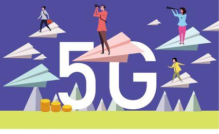 5G technology revolution in global communications Illustration
