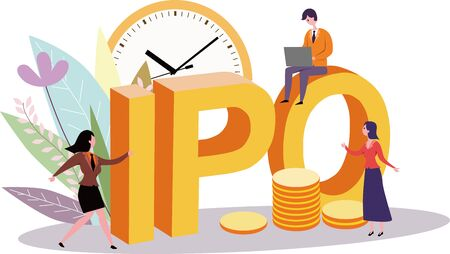 Waiting for the listing of small people vector illustration at the time of preparation