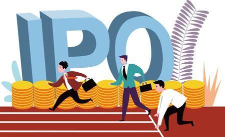 Vector illustration of the villain on the security starting line in action at the IPO