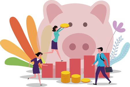 Financial piggy bank piggy bank rising income on white background