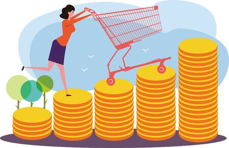 Shopping woman and shopping cart on the gold coins concept image Illustration