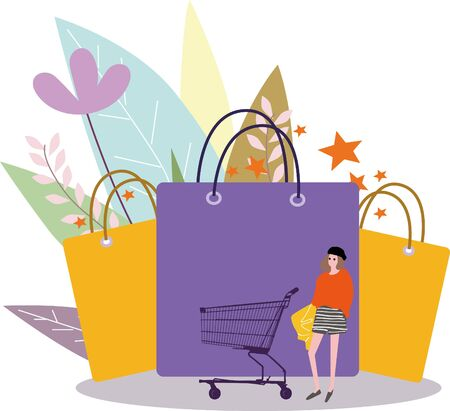 big icon of woman with shopping cat, concept image Illustration