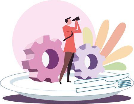 Warm color background business finance illustration, aiming at reform Illustration