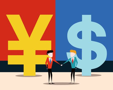 China-US trade negotiations, financial illustration concept image