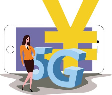 5G with smartphone,concept image Illustration