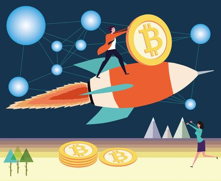 concept image of bitcoin is rising like a rocket 向量圖像