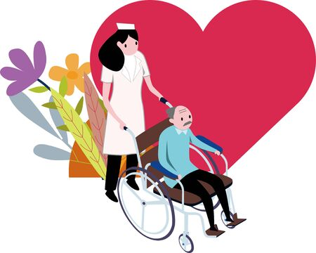 Red love old people have flowers background illustration material under the care of nurse care 向量圖像