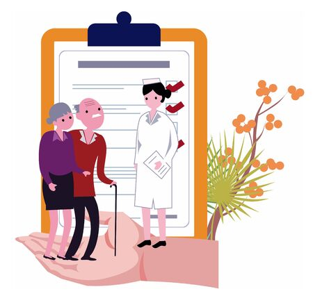 Caring for the elderly care problem, the nurses care and hand illustration material