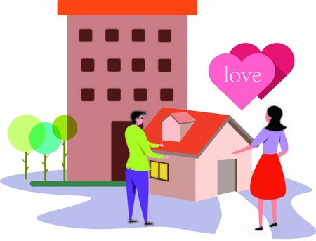 Couple having a house of their own Illustration