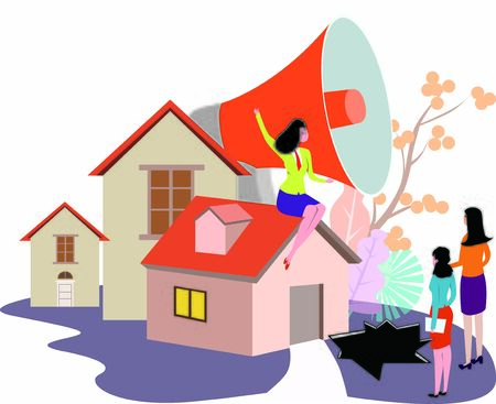 Concept of real estate fraud with saleswoman with megaphone informing people Illustration