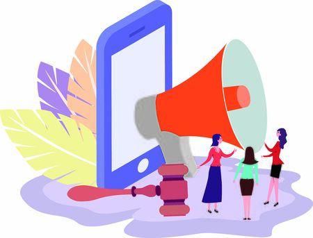 Concept of online shopping fraud awareness using megaphone to inform people Vektorgrafik