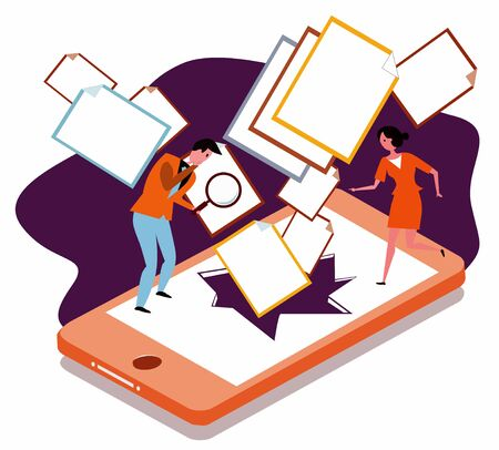 Concept of online privacy and personal information loss with documents coming out from cracked smartphone