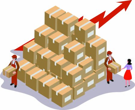 Concept of logistics business growing rapidly and delivery made to consumer