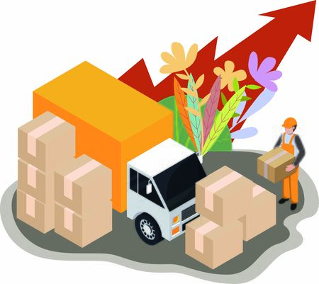 Concept of logistics business growing rapidly with parcels being delivered Illustration