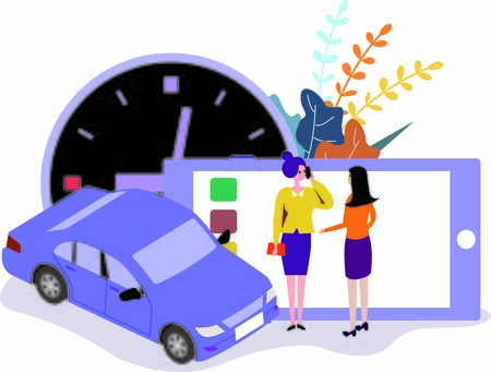 concept of dangers and risk of women calling for rides at night Standard-Bild - 133530019