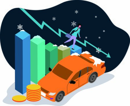 Concept of sales profit decline for car business Illustration