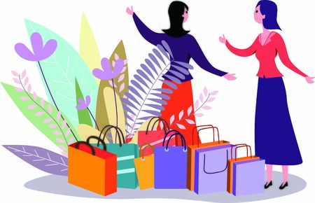 Women talking about retail and shopping