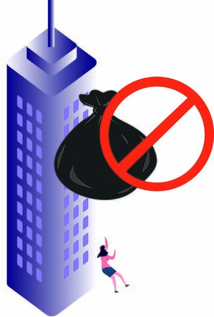 No littering from high-rise residential or commercial buildings