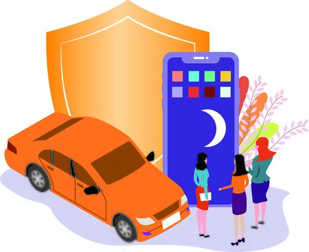 Concept of women discussing security measures of hailing rides at night Illustration